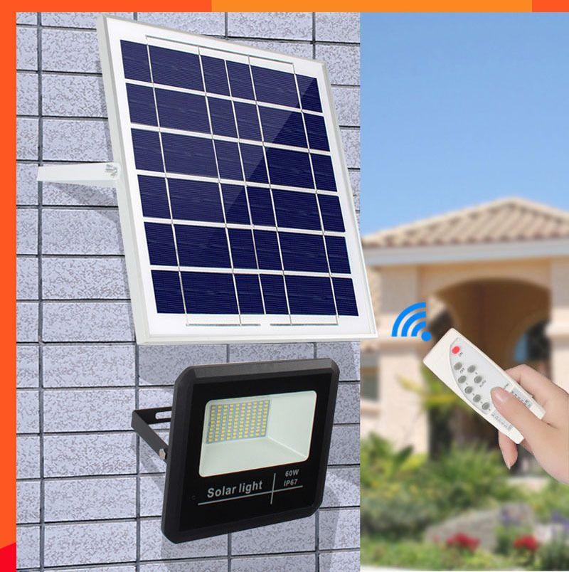 10 UNIDS Solar LED Light Spotlight 25W 40W 60W Control de Luz Remoto Reflector Solar alimentado Lámpara de Calle Impermeable IP67