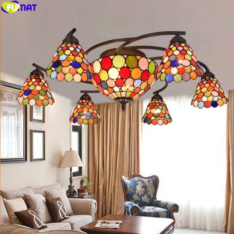 FUMAT Colour Stained Glass Ceiling Lamp Artistic Lights For Living Room Tiffany Hande -made Glass Art Light With Remote control