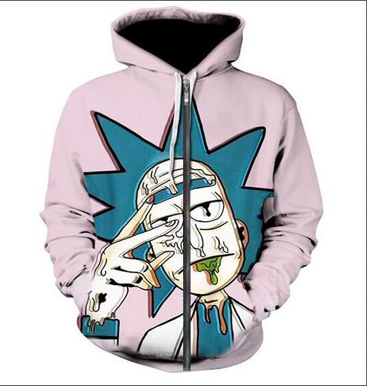 Neue Art und Weise Unisex Sweatshirt Pullover Männer Frauen Rick und Morty Sweatshirts Harajuku Maxi-Reißverschluss-Jacken-Kleidung