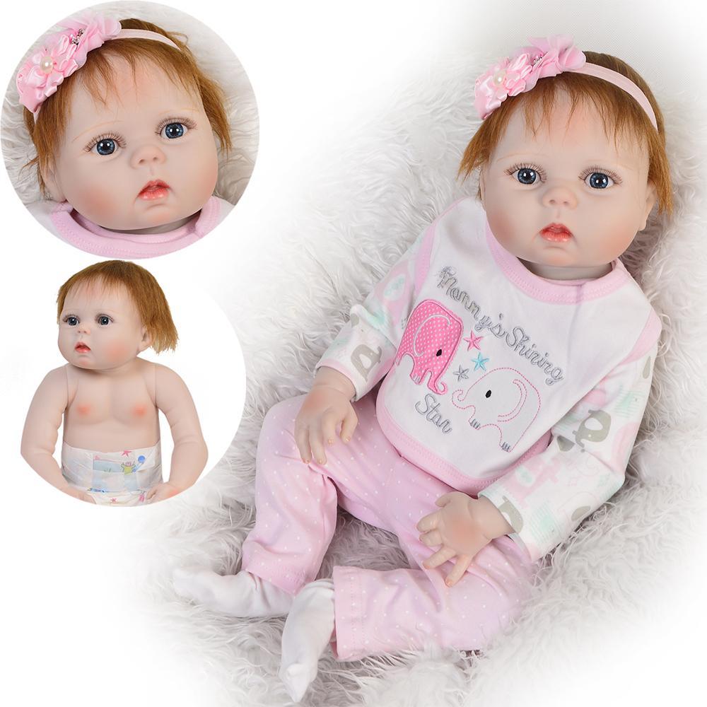 "57cm//23/"" Newborn Reborn Baby Dolls Full Body Silicone Vinyl Girl Dolls"