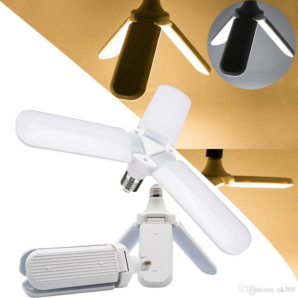 E27 LED de 45W Lâmpada dobrável blade fan Bulb SMD2835 Super Bright ajustável lâmpada do teto Home Energy Saving Luzes Led oficina