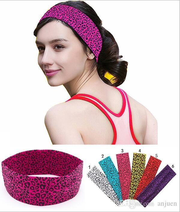 Fashion sports yoga hair band lady fitness leopard print head band elastic cotton absorbent hair band hair accessories