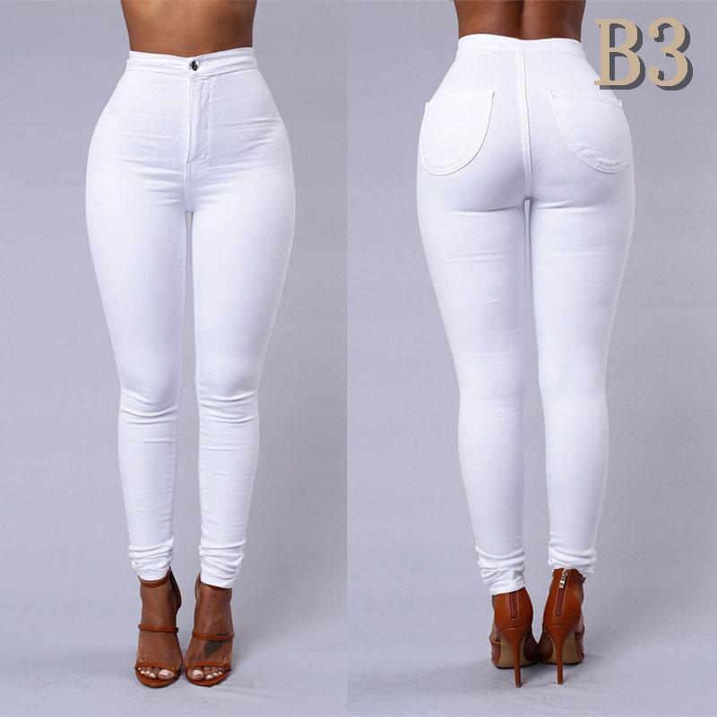Nueva llegada Jeans delgado para las mujeres flacas altura de la cintura del color del caramelo del dril de lápiz pantalones elásticos de la cintura Sexy Negro Trabajo Partido Pantalones Tamaño S-2XLB3