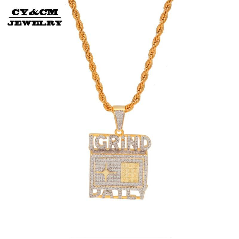 CYC Top Quality Safe Deposit Box кулон ожерелье хип-хоп CZ Iced Out IGRIND DAILY кубический цирконий Золотая щепка рэпер ювелирные изделия