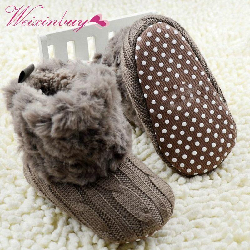 Winter Warm First Walkers Baby Ankle Snow Boots Infant Crochet Knit Fleece Baby Shoes For Boys Girls dropahipping