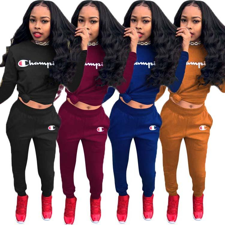 Damenmode 2-teiliges Set Outfits lange Ärmel Anzug Jogging sportsuit Hoodie Hose-Sweatshirt-Strumpfhosen-Sportklage Frauen Kleidung klw0135
