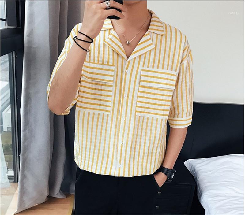 Нагрудные шеи кнопки рубашки летние повседневные мужские рубашки Мода Полосатый печати Мужские дизайнерские рубашки с короткими рукавами