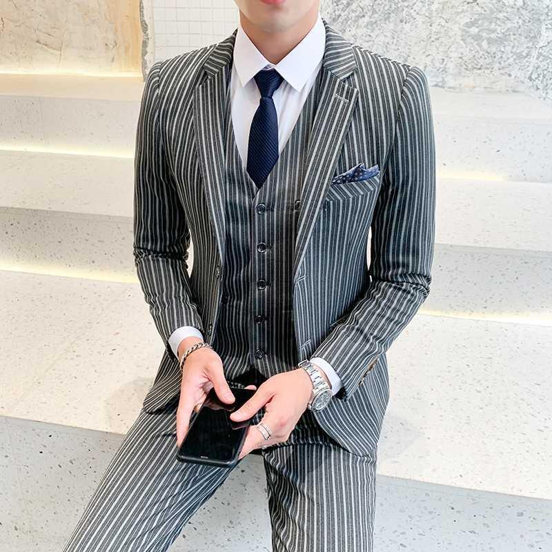 5xl плюс размер мужские костюмы Slim Fit Джентльмены формальные костюмы для мужчин полоса 3 шт классическая одежда курение серый смокинг