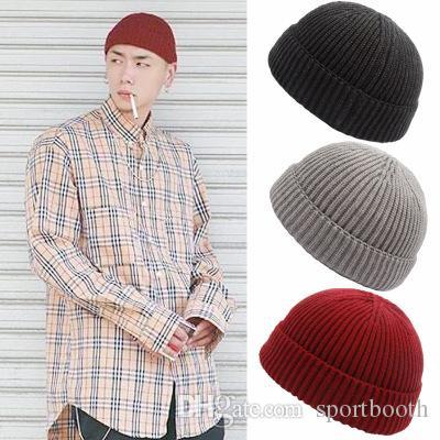 Hochwertige Winter-Männer Mode Strickmütze Beanie Skullcap Sailor Cap Cuff brimless Retro Marine-Art-Hut-Hipop Trend