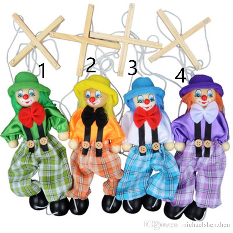 4 Style Funny Vintage Colorful Pull String Puppet Clown Wooden Marionette Handcraft Toys Joint Activity Doll Kids Children Gifts L