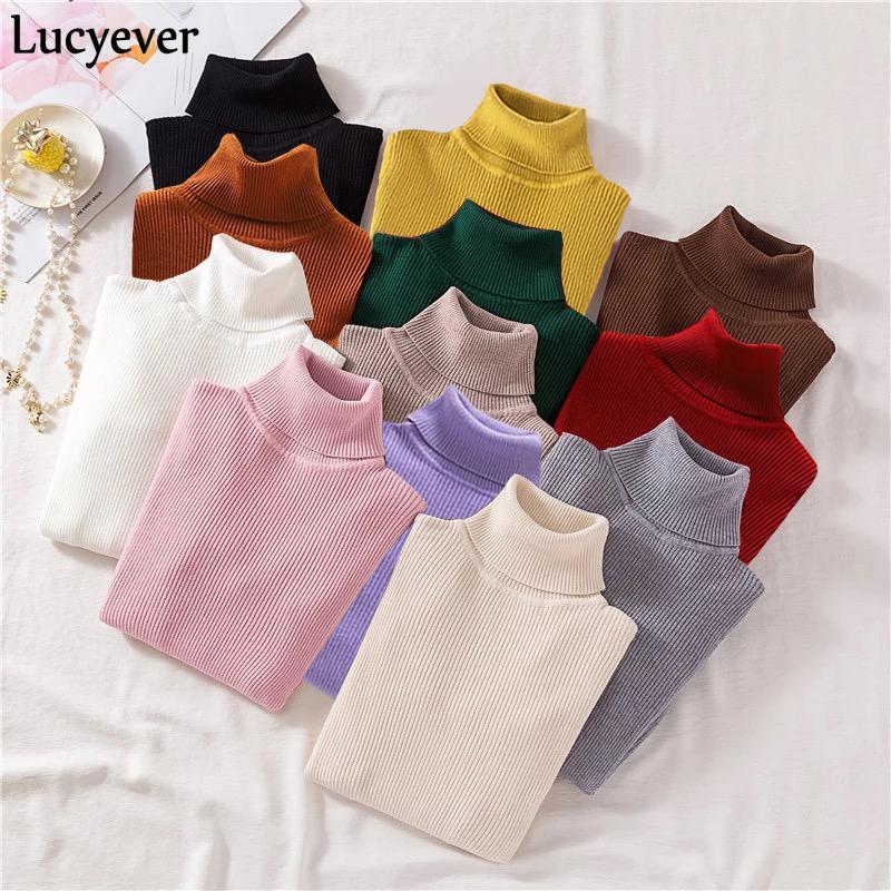Tops Lucyever cuello alto de las mujeres de punto suéter de los suéteres de moda otoño invierno suave puente delgado coreano de manga larga niñas básicos