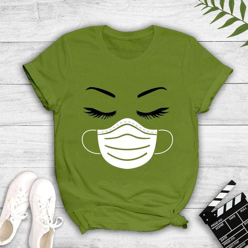 d5R42 Qs1zz été T-shirt de cil de masque de mode féminine imprimé T7443 été à manches courtes masque cil femmes de la mode imprimé à manches courtes