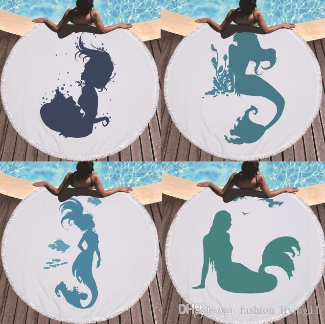 Blue Mermaid Printed Large Round Beach Towels For Children Play Mat Microfiber With Tassels Thick Terry 150cm Adults Bath Towel H241 013
