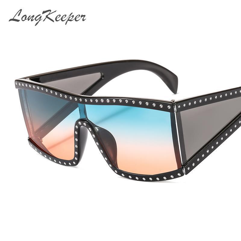 occhiali da sole di lusso di cristallo Steampunk sole nuovo di marca del progettista delle donne occhiali Uomini One Piece specchio Occhiali da sole UV400