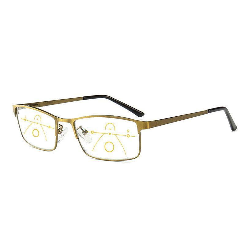 2019 Anti Blue Light Reading Glasses Men Progressive Multifocal Glasses Women Near Far Sight Alloy Frame Eyeglasses Diopter