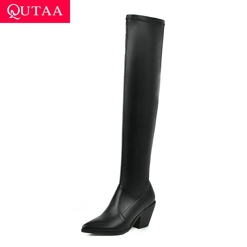 QUTAA 2020 Cuissardes Bottes place extensible talon haut Flock Glissement Femmes Chaussures Casual Toe Taille Pointu hiver 34-43