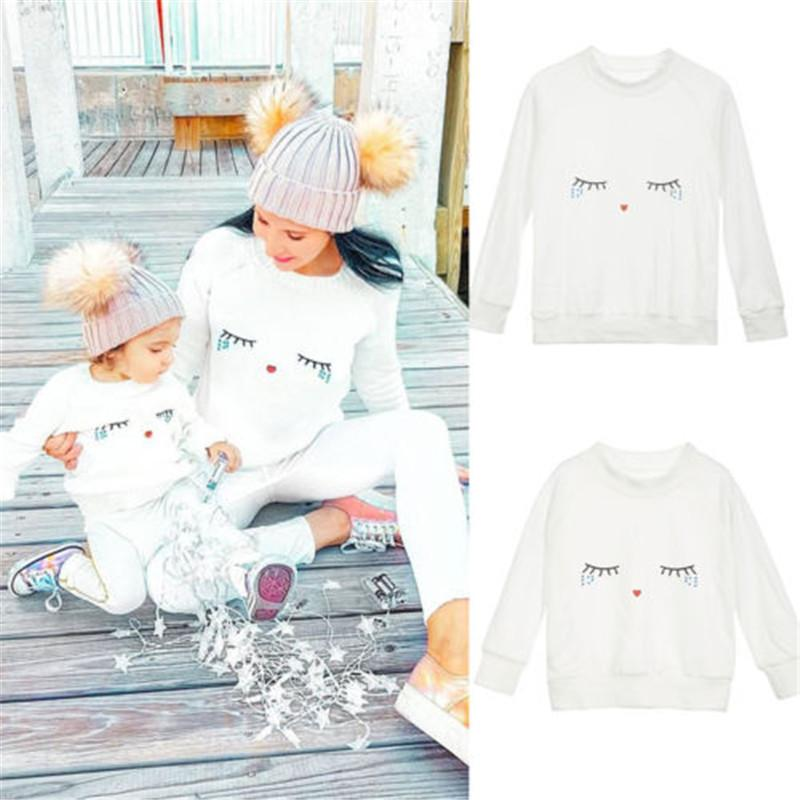White Eyelash Sweaters Family Matching Outfits Sweaters For Mom And Kids Girls Cotton Sweaters Mother And Daughter Clothes Tops