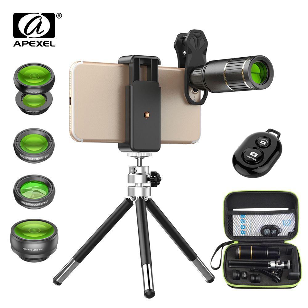 großhandel 5in1 telefon linsen kit mit box 16x hd fisheye weitwinkel handy kamera objektiv stativ für samsung huawei smartphones