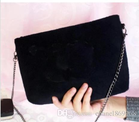 3861fa0dc4c4 2019 New Classic pattern good quality velvet handbag With Fashion black  chain makeup bag famous party
