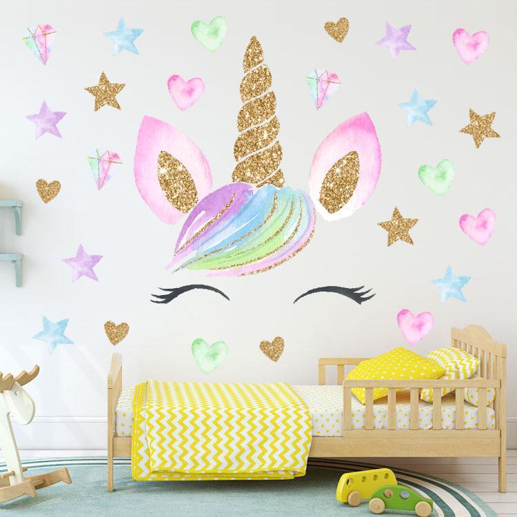2 unids 28 * 28 cm Niños unicornio pegatinas de pared bebé Dormitorio decoración etiqueta de la pared diseño niños decoración para el hogar Wallpaper niña corazón imágenes