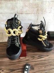 Nouvelle marque italienne designer hommes baskets femmes chaussures de sport en cuir véritable Lace-Up les hauts hauts marron double fermeture à glissière décorative W2610