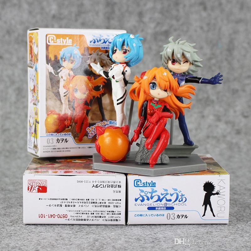 3pcs/lot Neon Genesis Evangelion EVA Figures Toy Ayanami Rei Asuka Langley Soryu Nagisa Kaworu Q Version Model Doll Kid Gifts