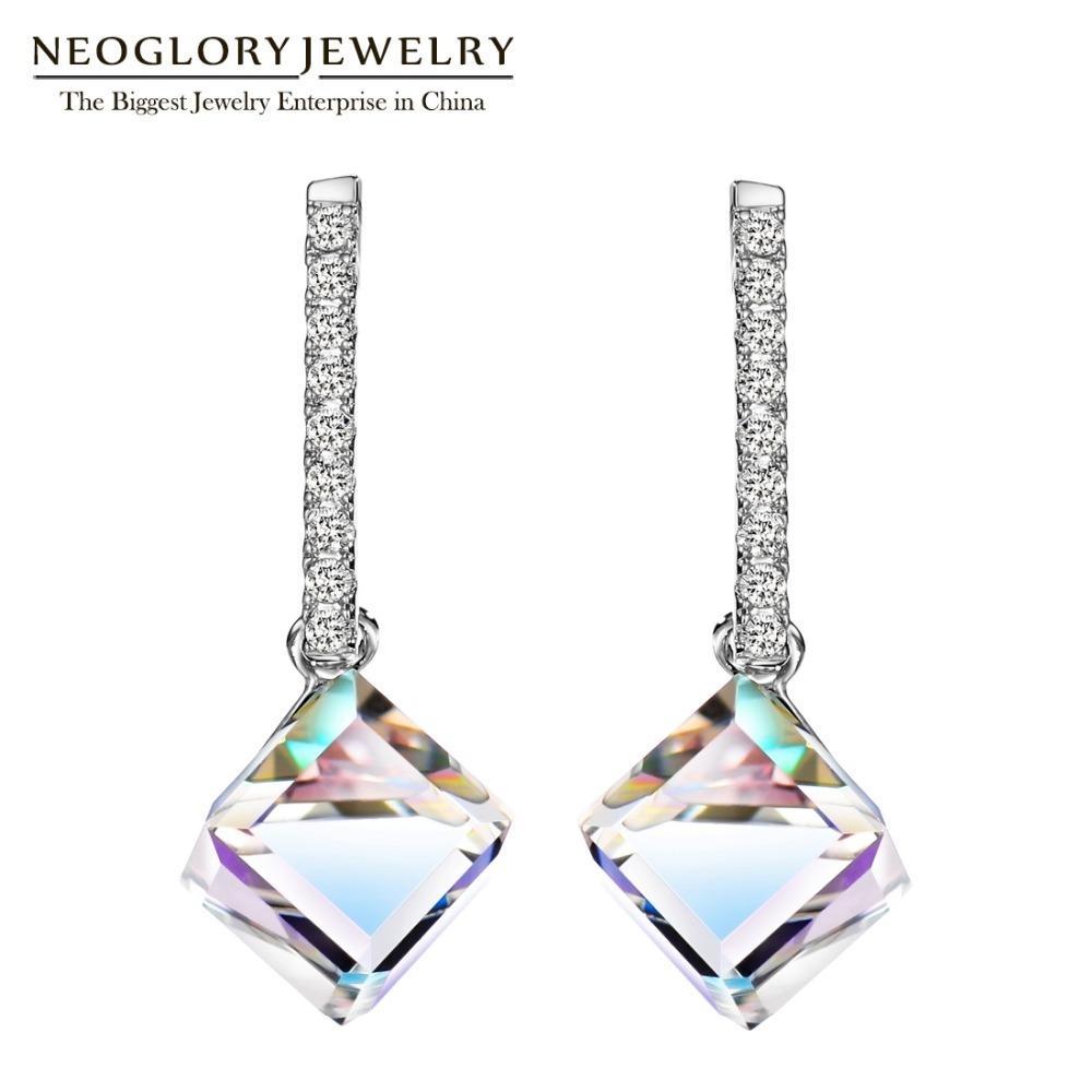 Neoglory Moda Longo Big Square Dangle Brincos para Mulheres 2020 Hot nova jóia embelezado com cristais de Swarovski
