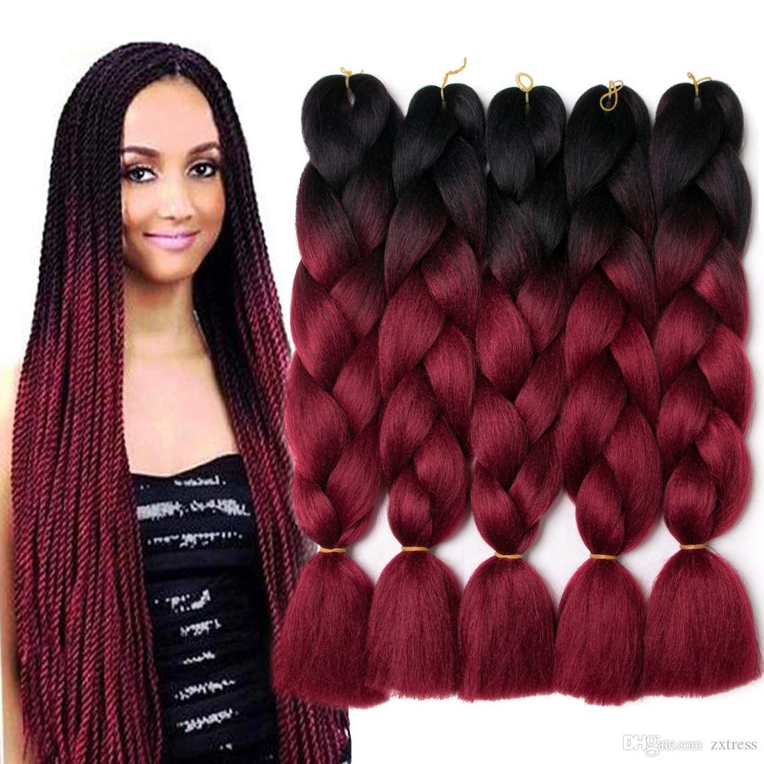 """Trenzas Jumbo 24"""" 5 paquetes de Yaki suave Kanekalon sintético Ombre Hair Braiding Extensiones de ganchillo tuercen el pelo de la caja del trenzado de Senegal"""