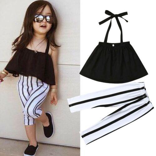 2019 الصيف الفتيات الملابس مجموعات ملابس الأطفال أزياء فتاة قميص أسود أعلى + سروال مخطط الدعاوى 2019 ملابس الاطفال 2 قطع