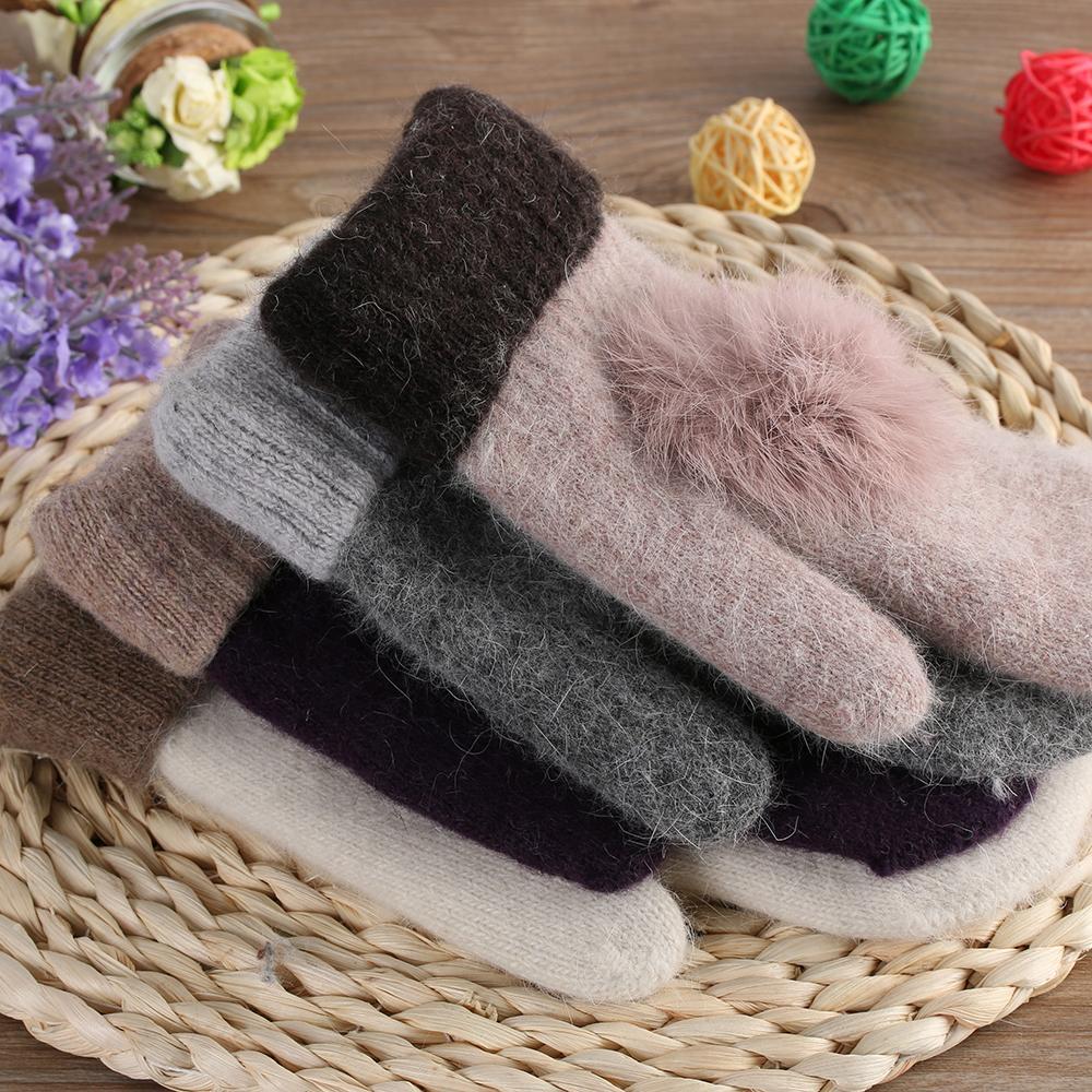 Design Women Winter Warm Wool Gloves Ladies Fur Pom Poms Mittens Fingerless Gloves ps0426