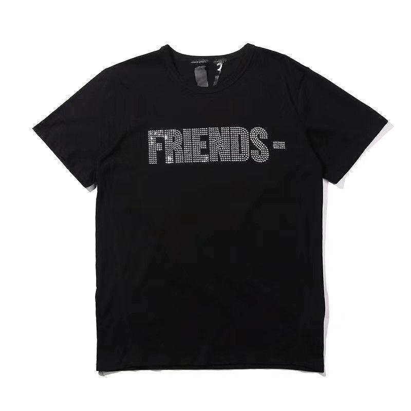 Vlone Женская футболка Тис хип-хоп женские топы Vlone Friends Хлопок с коротким рукавом Большой V Логотип Женская мужская футболка