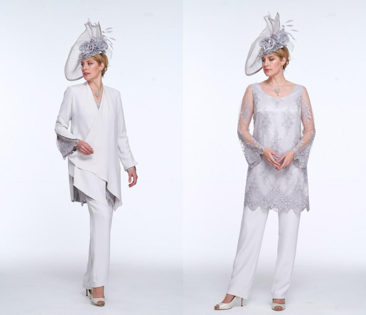 Три пьесы мать невесты брюки костюмы кружева аппликация Иллюзии Длинные рукава свадебные платья для гостей званых вечеров Wear