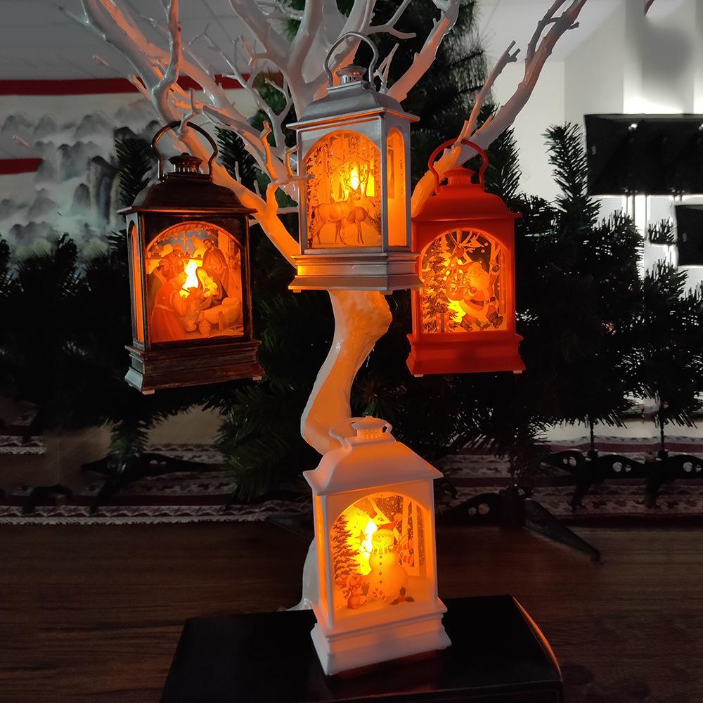 1 PC LED-Leuchten Weihnachten kreativer bewegliches Weihnachten Kleinwind Painted Religiöse Lichter Hängende verziert Party