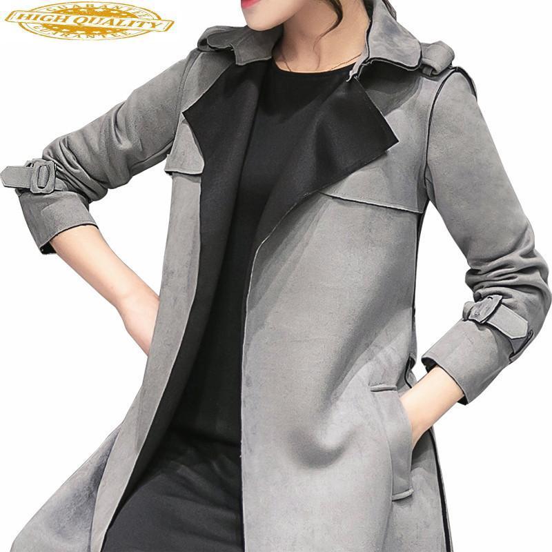 Femmes coupe-vent Trench Manteau avec ceinture Corée du style Slim gris Manteaux Printemps Automne Trench Para Mulheres WXF112