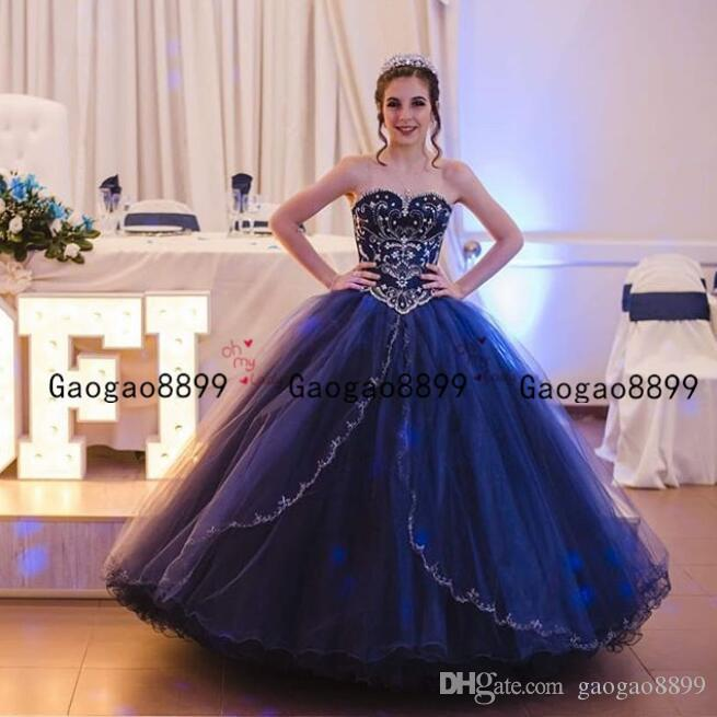 Royal blue Princess Ball Gown Quinceanera Dresses sweetheart Cascading Ruffles Crystal Beads floor length Prom Party Gowns For Sweet 16