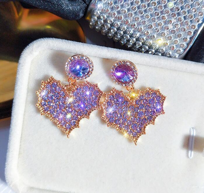 2020 Fashion Designer Stud Earrings Sweet Heart Purple Crystal Shining Earrings S925 Needle 18K Gold Alloy CZ Diamond Earring