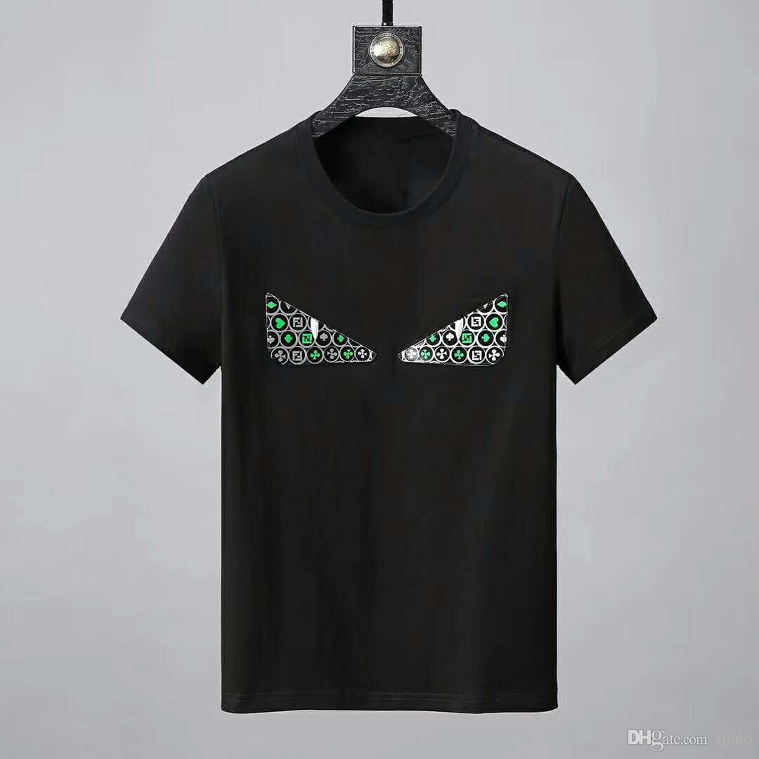 2019 브랜드 새로운 디자인 O-목 남성은 귀여운 눈 캐주얼 t 셔츠 남성 짧은 소매 코튼 T 셔츠 자수 티셔츠
