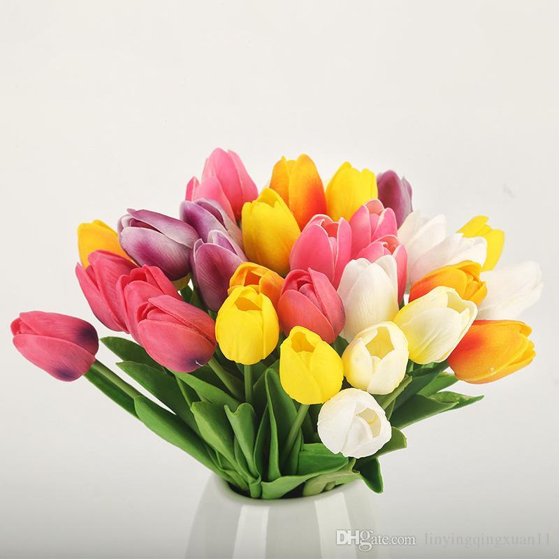 PU falso Artificial ramo de flores Real Touch seda flores de tulipán para fiesta de boda decoración del hogar flor