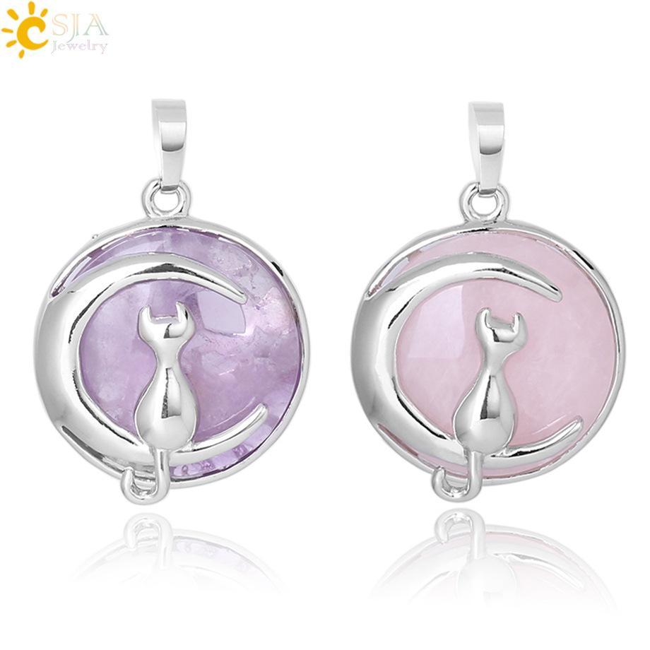 Новая мода Cat Moon Подвеска для ожерелье круглый Природный камень Cute Kitten Лаки ювелирных Fit женщин девушки ожерелья подарка