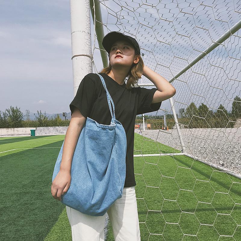2020 nouveau sac d'épaule couleur rétro casual sauvage sac en toile solide simple sac à main en jean de la mode