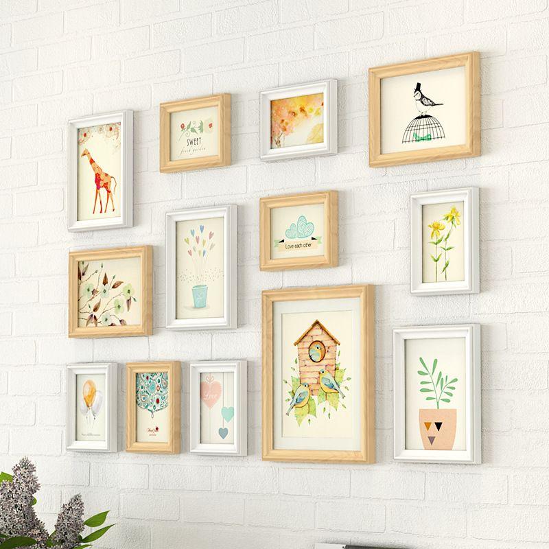 13 piezas Portarretratos decoración de la pared de madera Pastoral marco colgante foto de la pared TV Set Marco del fondo de fotos Conjunto Decoración
