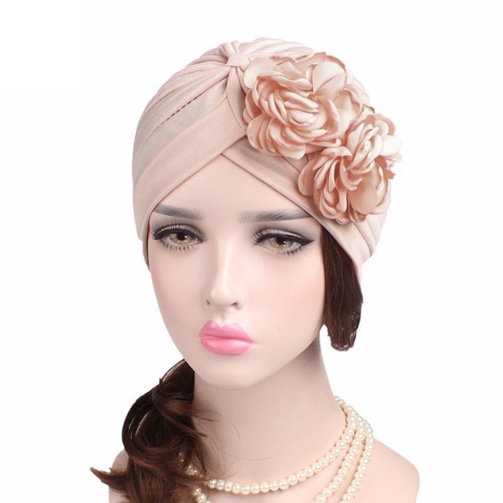 Cappelli Foulard Cappello cotone delle donne musulmane solido colore del fiore dell'increspatura Cancer Chemo Beanie sciarpa della testa del turbante Wrap Cap femminili