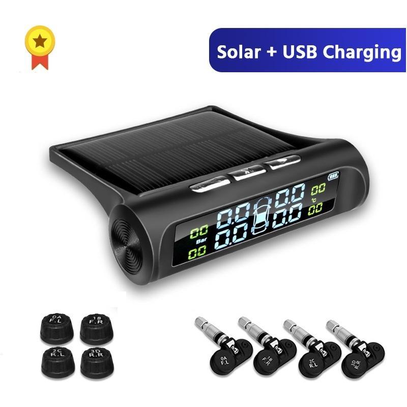 Lote * Smart Car TPMS presión de los neumáticos Sistema de Monitoreo de Energía Solar Digital Display LCD de Seguridad Auto Alarma de Presión de Neumáticos Sistemas