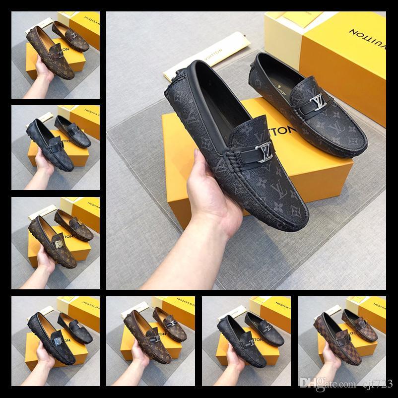 2019 Designer marchio italiano lussuoso abito in pelle scarpe Top in pelle da uomo festa scarpe in pelle scamosciata moda scarpe tacco alto taglia 38-45