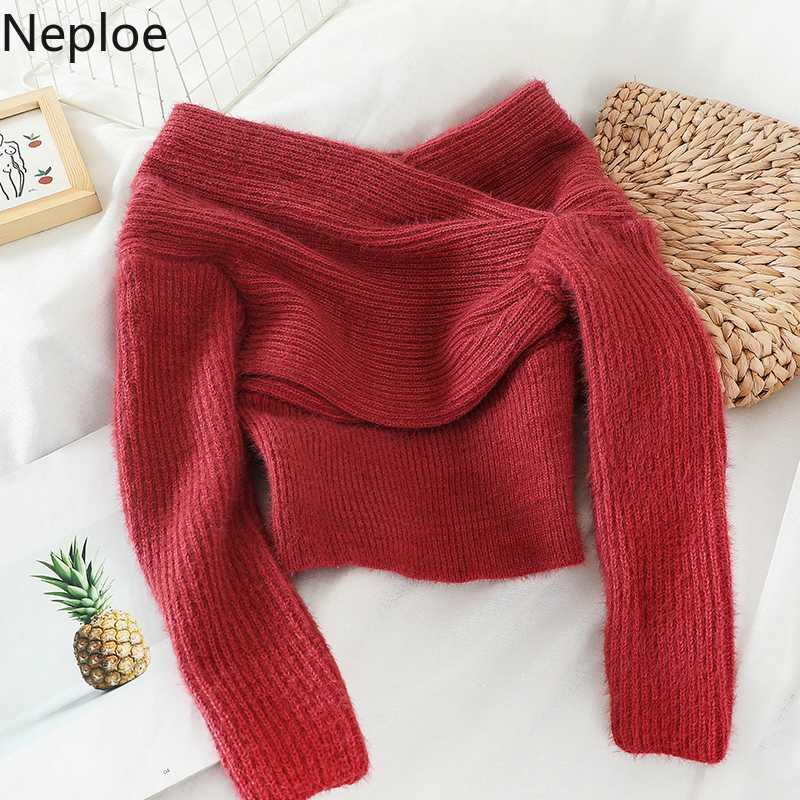 Neploe sexy spalle Slash collo corto magliata Thicked caldo disegno del legame Pull Femme Autunno Inverno Pullover Solid Nuovo 48501