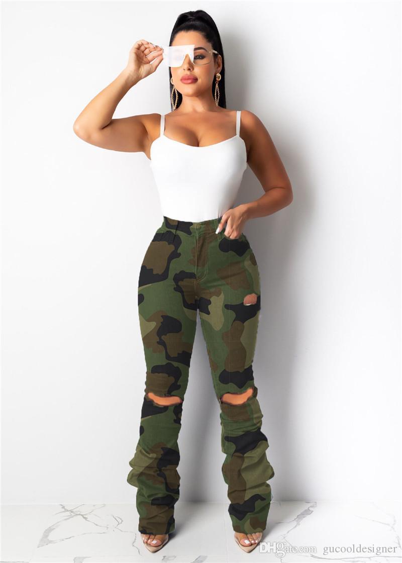 Bahar Kamuflaj Baskılı Kadınlar Pantolon Moda Tasarımcısı Yüksek Bel Bayan Capris Casual Slim Kadın Giyim Ripped
