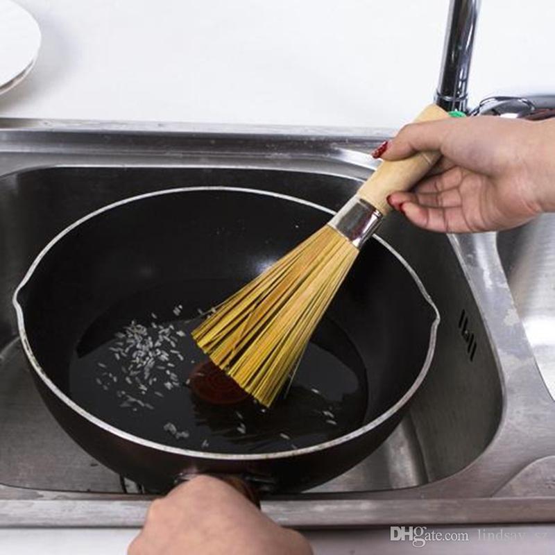 Мыть горшок щетка мыть посуду ручной работы кухонные инструменты антипригарное масло натуральный бамбук щетка прочная деревянная ручка F20174084