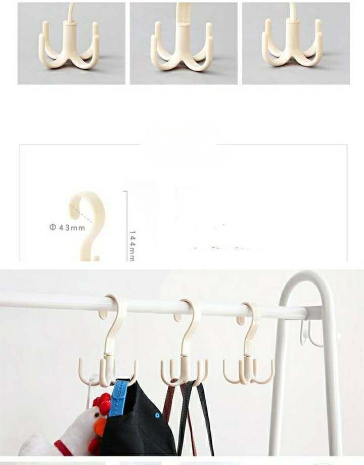 Appareil de finition rotatif Four à crochet à griffe 360 degrés nécessités quotidiennes crochet de cintre du cintre de cintre en matière plastique