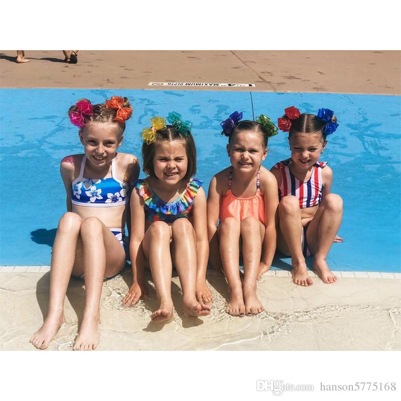 Girls Jelly Bows with Clip Glitter PVC Waterproof Swimming Pool Party Bows