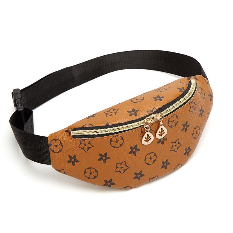 Designer saco da cintura Fannypack Belt Bag Bumbag Riñonera Impresso Shell em forma de Pull Trendy cintura Bag New dobro das mulheres Folha Mudança pequenos sacos